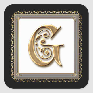 Letter G - Gold & Lace Classic Formal Wedding Seal Sticker
