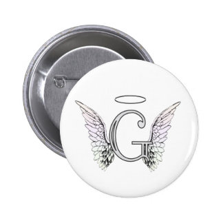Letter G Initial Monogram with Angel Wings & Halo 2 Inch Round Button