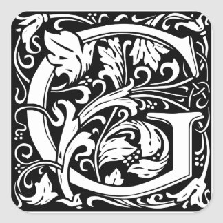 Letter G Medieval Monogram Vintage Initial Square Sticker