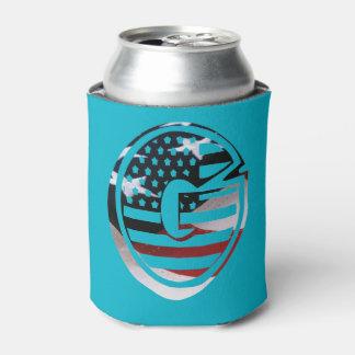 Letter G Monogram Initial Patriotic USA Flag Can Cooler