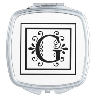 Letter G Monogram Travel Mirrors