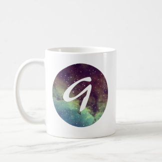 Letter 'G' Name Mug with Space Print Personalize