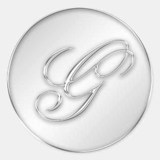Letter G script initial faux silver monogram favor Stickers