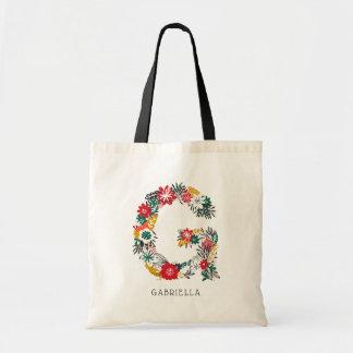 Letter G | Whimsical Floral Letter Monogram I Tote Bag
