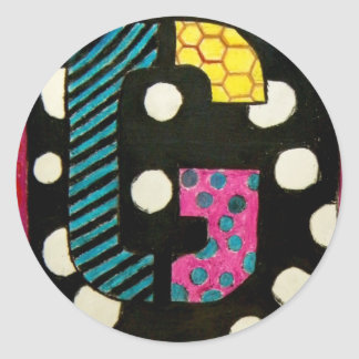 Letter G with Polka Dots Classic Round Sticker