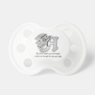 Letter H angel monogram alphabet initial Pacifier