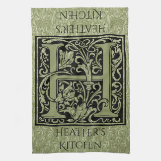 Letter H First Letter Monogram Personalized Kitchen Towels