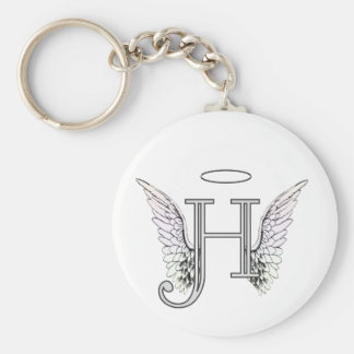 Letter H Initial Monogram with Angel Wings & Halo Basic Round Button Keychain
