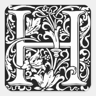 Letter H Medieval Monogram Vintage Initial Square Sticker