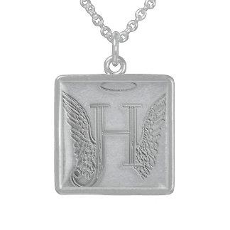 Letter H Memorial Monogram Sterling Silver Necklace