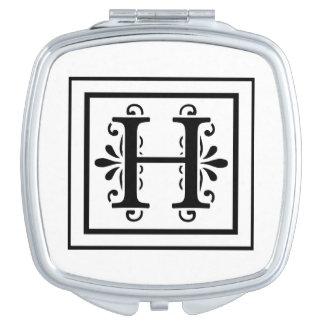 Letter H Monogram Makeup Mirror