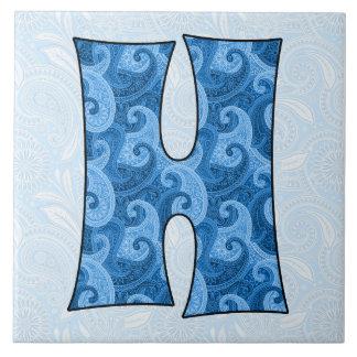 Letter H - Monogrammed Blue Paisley 6 inch Tile