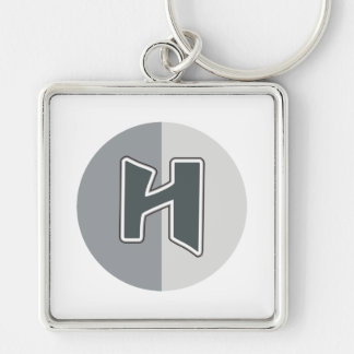 Letter H Silver-Colored Square Keychain