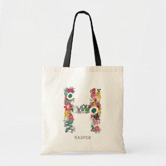 Letter H | Whimsical Floral Letter Monogram I Tote Bag