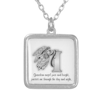 Letter I angel monogram alphabet initial Silver Plated Necklace