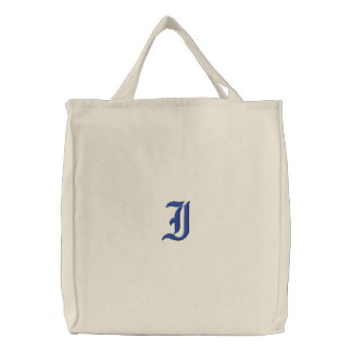 Letter I Monogram Embroidered Bag