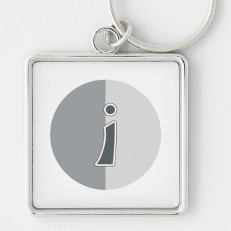 Letter I Silver-Colored Square Keychain