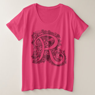 Letter initial R doodle tangle art drawing Plus Size T-Shirt