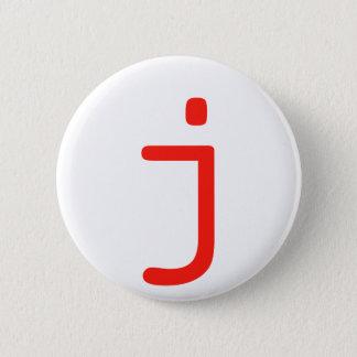 Letter j 2 inch round button