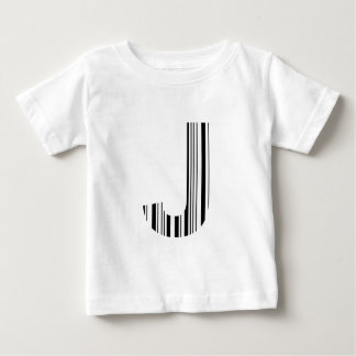LETTER J BAR CODE First Initial Barcode Pattern Baby T-Shirt