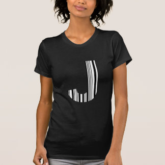 LETTER J BAR CODE First Initial Barcode Pattern T-Shirt