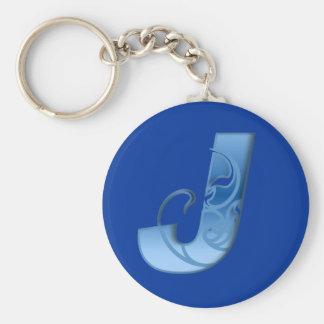 Letter J Basic Round Button Keychain