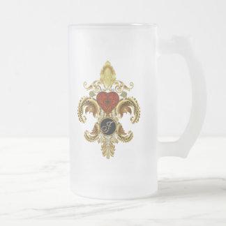 """Letter """"J"""" Double Monogram Fleur-de-lis  Style 2 Mugs"""