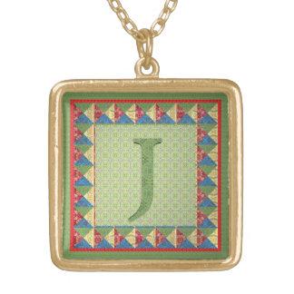 Letter J: 'Fabric Quilt' Style Initial and Pattern Pendants
