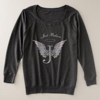 Letter J Initial Just Believe Plus Size Sweatshirt