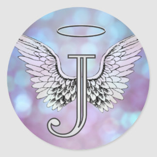 Letter J Initial Monogram Angel Wings & Halo Classic Round Sticker