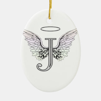 Letter J Initial Monogram with Angel Wings & Halo Ceramic Ornament