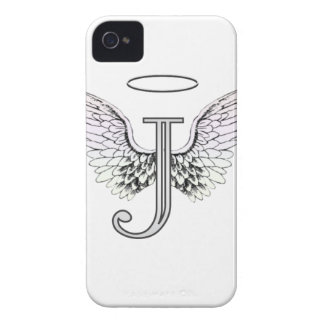 Letter J Initial Monogram with Angel Wings & Halo iPhone 4 Covers