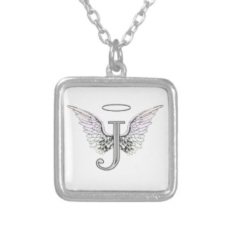 Letter J Initial Monogram with Angel Wings & Halo Necklace