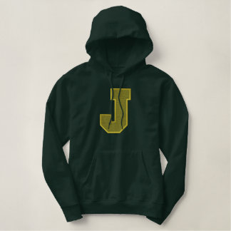 Letter J Light Fill Embroidered Hoodie