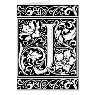 Letter J Medieval Monogram Vintage Initial Card