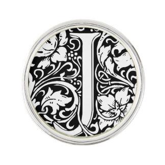 Letter J Medieval Monogram Vintage Initial Lapel Pin