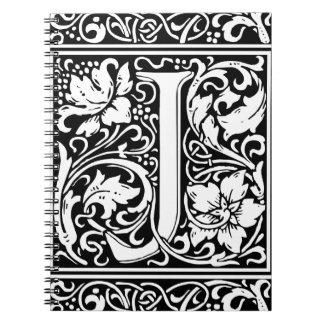 Letter J Medieval Monogram Vintage Initial Notebook