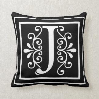 Letter J Monogram Black Throw Pillow