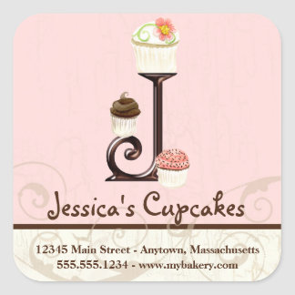 Letter J Monogram Cupcake Logo Business Identity Square Sticker