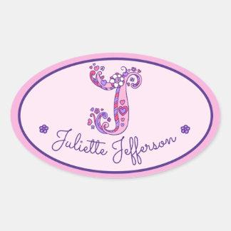 Letter J monogram custom girls name pink stickers
