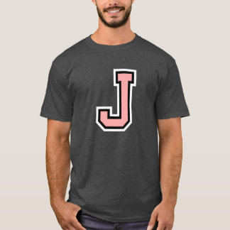 Letter J Monogram Initial College T-Shirt