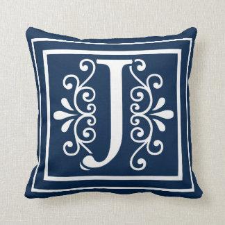 Letter J Monogram Navy Blue White Throw Pillow