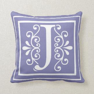 Letter J Monogram Periwinkle Purple Throw Pillow