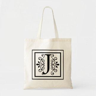 Letter J Monogram Tote Bag