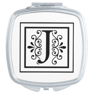 Letter J Monogram Travel Mirror