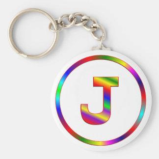 Letter J Rainbow Keychain