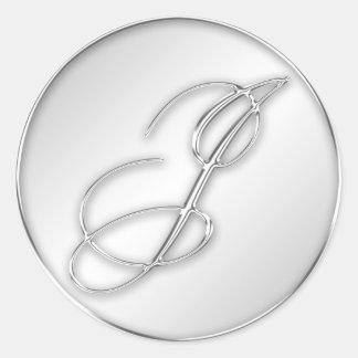 Letter J script initial faux silver monogram favor Round Sticker