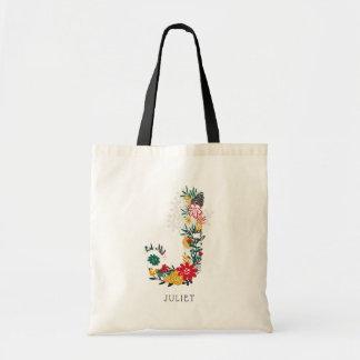 Letter J | Whimsical Floral Letter Monogram I Tote Bag