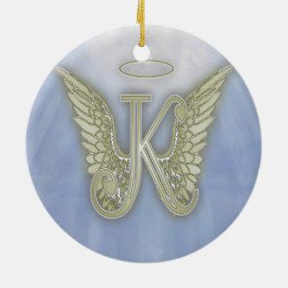 Letter K Angel Monogram Round Ceramic Ornament