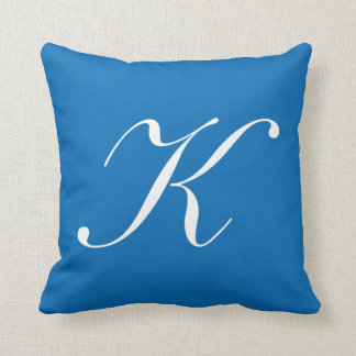 Letter K Blue Monogram Pillow